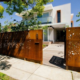 Corten Laser Cut Panels used as a privacy screen