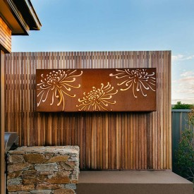 Corten light box example of outdoor wall art