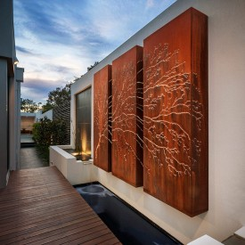 stunning Corten outside laser cut lightbox