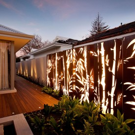 Corten Metal Garden Light Box in a series