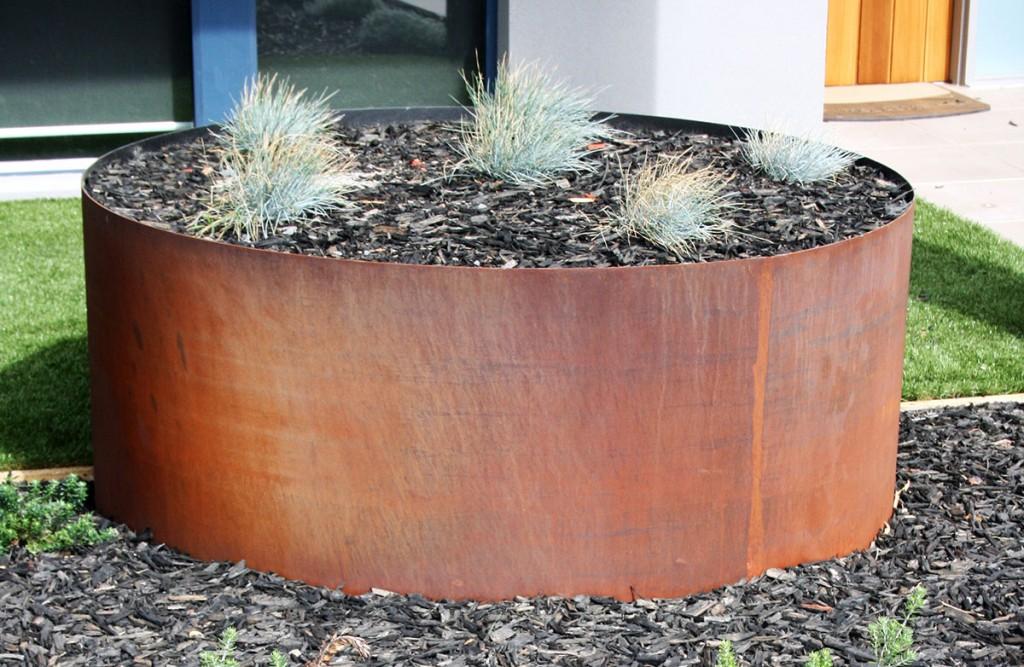 Delightful Large Round Corten Garden Planter ...