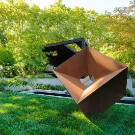 Square Corten outdoor Sculpture used in flower show display